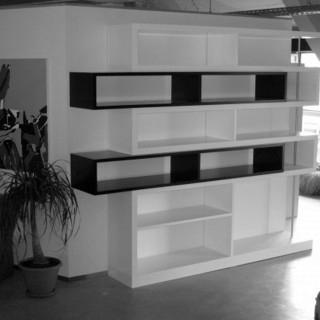 construction, bibliothèque, mobilier, architecte, aménagement, blanc, étagère, design,