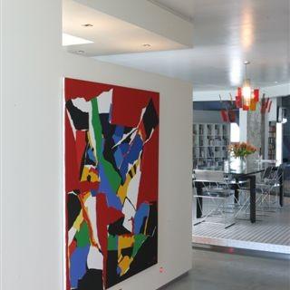 maison, loft, moderne, achitecture, geoffrey, hody, design, cuisine, salon, blanche
