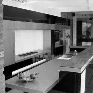 cuisine, aménagement, mobilier, blanc, gris, noir, design, moderne, plan de travail, architecture, architecte